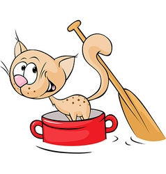 Cat sails in a red pot and Paddle Tail - vector