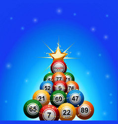 Christmas bingo lottery balls tree on blue vector