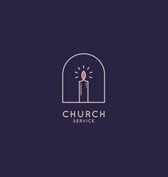 church logo with candle on blue background vector image