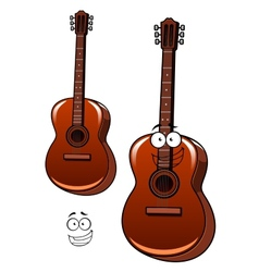 Classical acoustic guitar cartoon character vector image vector image