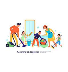 cleaning kids helping parents vector image