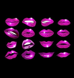 Collage pink lips set Design glitter element vector