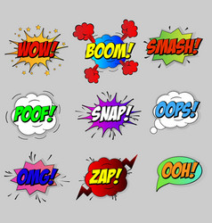 Comic sound speech effect bubbles set isolated vector