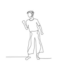 continuous one line dancing woman with short vector image