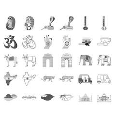 Country india monochromeoutline icons in set vector