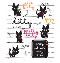 cute black cat doodle vector image