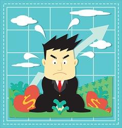 Cute Stock Market Investor Flat Cartoon vector
