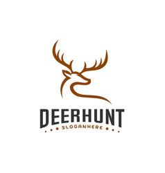 Deer hunt logo template elegant deer head logo vector