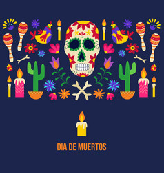 dia de muertos - black poster for day dead vector image