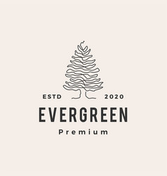evergreen tree hipster vintage logo icon vector image