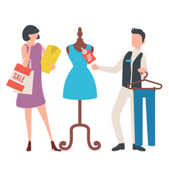 Female buying clothes sale old collection vector