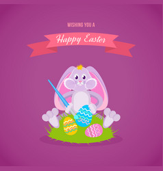 festive rabbit is sitting on lawn and easter eggs vector image