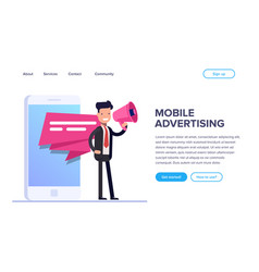Flat mobile advertising concept businessman or vector