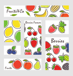 fruits and berries banners set vector image
