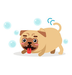 Funny pug dog character playing with soap bubbles vector