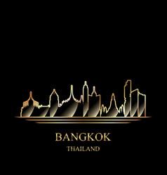 gold silhouette bangkok on black background vector image