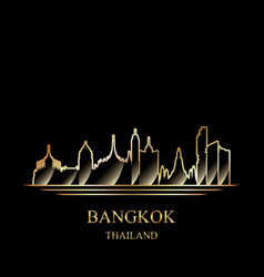 Gold silhouette of bangkok on black background vector