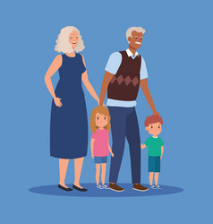 Grandmother and grandfather with girls and boys vector