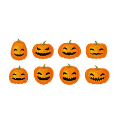 Halloween symbol set of funny pumpkins cartoon vector
