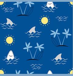 Hand drawing sea icons seamless print design vector