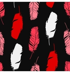 Hand drawn feathers silhouettes seamless pattern vector image