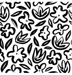 hand drawn simple abstract flower seamless pattern vector image