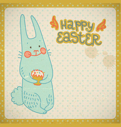 happy easter vintage card vector image