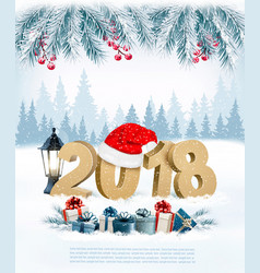 happy new year 2018 background with presents and vector image vector image