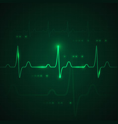 Heart pulse on green display heartbeat graphic vector
