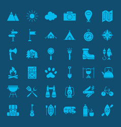 hiking outdoor solid web icons vector image