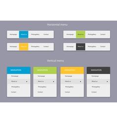 Horizontal and vertical menu vector