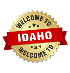 Idaho 3d gold badge with red ribbon vector