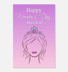 International womens day greeting card silhouette vector