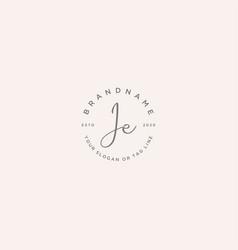Je letter feminine logo design vector