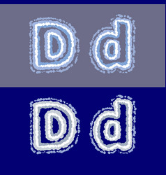 letter d on grey and blue background vector image