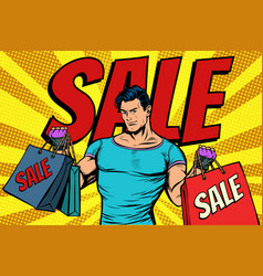 man with bags on sale vector image