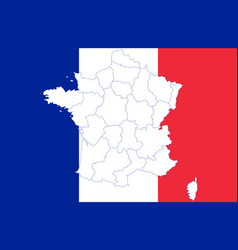 Map and flag of france vector