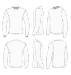 Mens white long sleeve t-shirt vector image