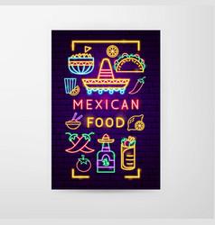 mexican food neon flyer vector image