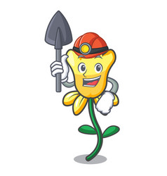 Miner daffodil flower mascot cartoon vector