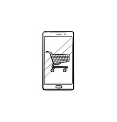 mobile shopping hand drawn outline doodle icon vector image