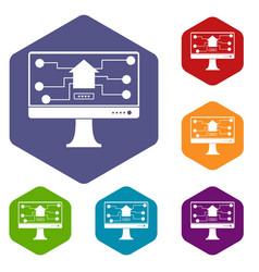 monitor chip icons set hexagon vector image
