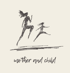 mother child running silhouette draw sketch vector image