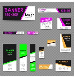 multicolor web banner size templates vector image