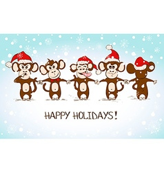New Year Card With Funny Monkey Holding Hands vector
