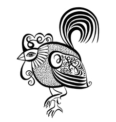 Original black and white line art rooster vector