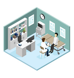 Patient in doctors office vector