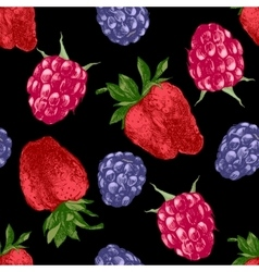 pattern with bright berries vector image