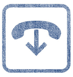 Phone hang up fabric textured icon vector