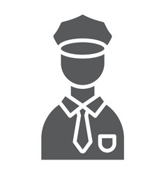 Policeman glyph icon police and person police vector